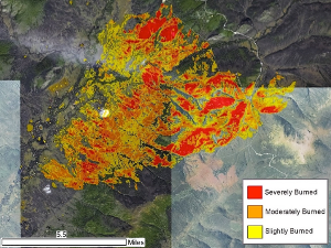 A processed Landsat image showing severely, moderately, and slightly burned areas from the Aggie Creek fire. Image credit: Amanda McPherson