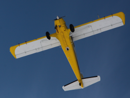 A beaver aircraft carrying the Hyspex sensors flying on a clear day. Photo credit: Meghan Murphy