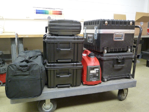 Hyspex system and accessories packed for fieldwork